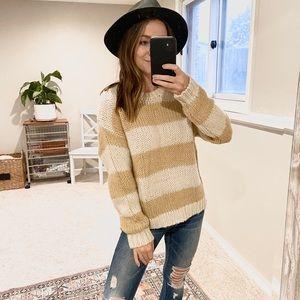 Hiatus Soft Cream tan Striped cozy Neutral Sweater